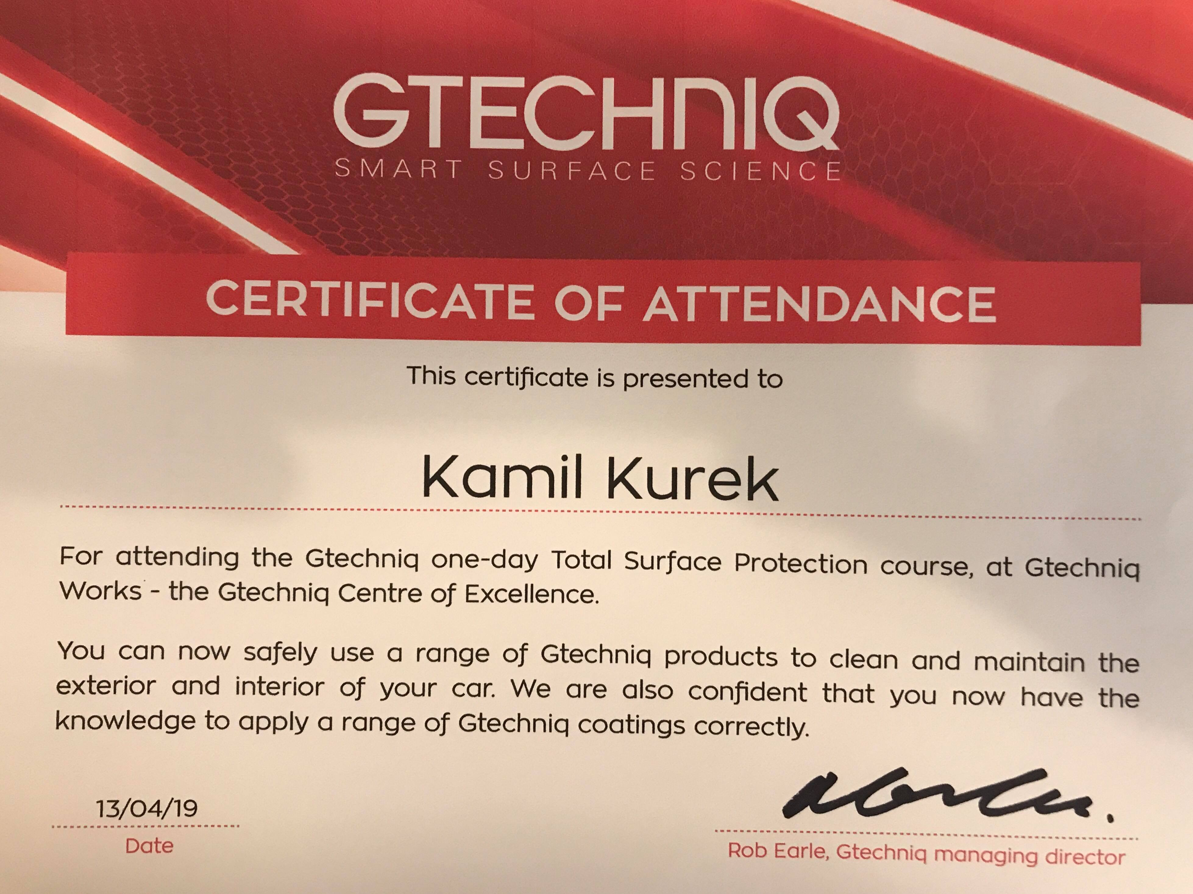 Gtechniq Certificate of Training