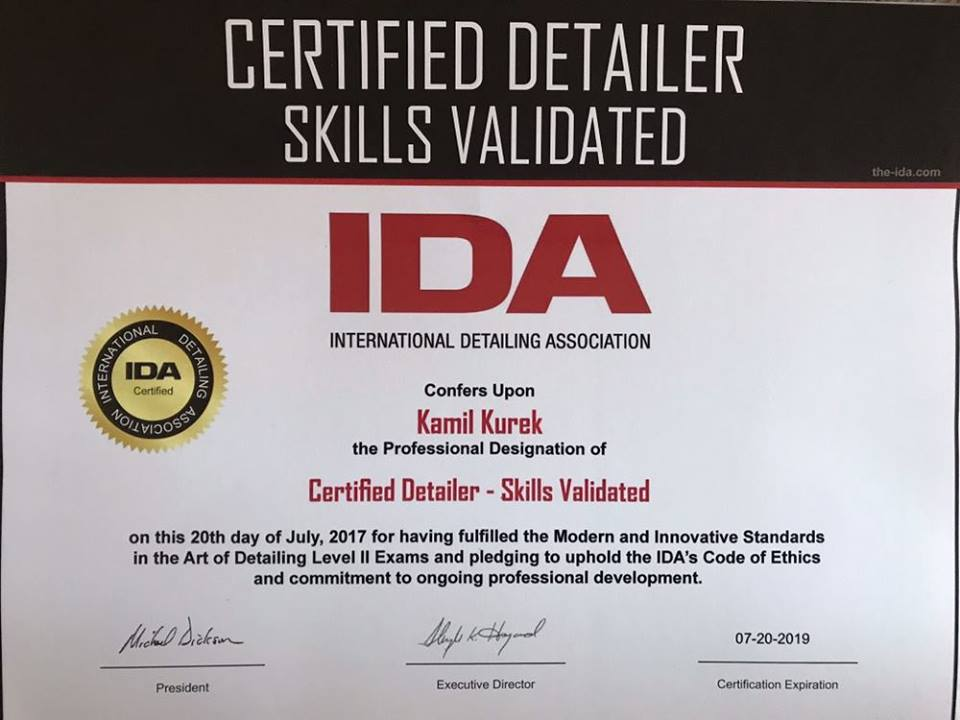 Detailing Certificate of Training